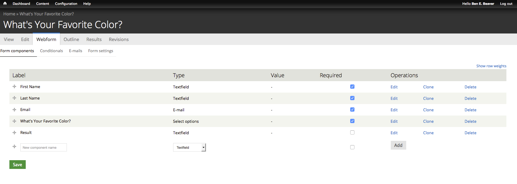 component manager with components added including a select option component