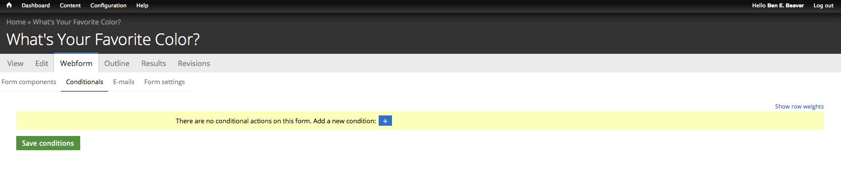 conditionals tab contents with no conditionals added yet