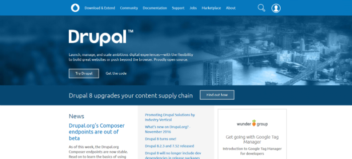 drupal.org front page