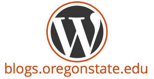 WordPress Logo with blogs.oregonstate.edu underneath