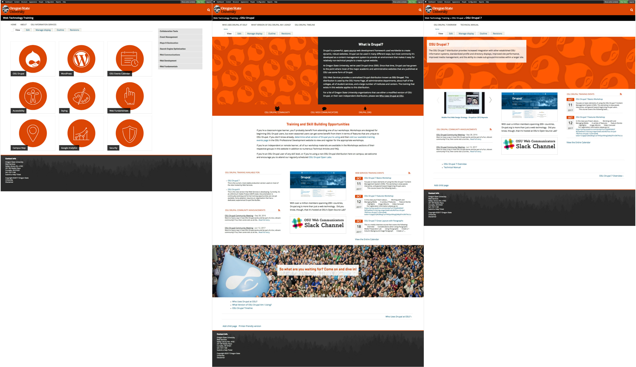 a side by side comparision of the home page, a group parent page, and a group child page