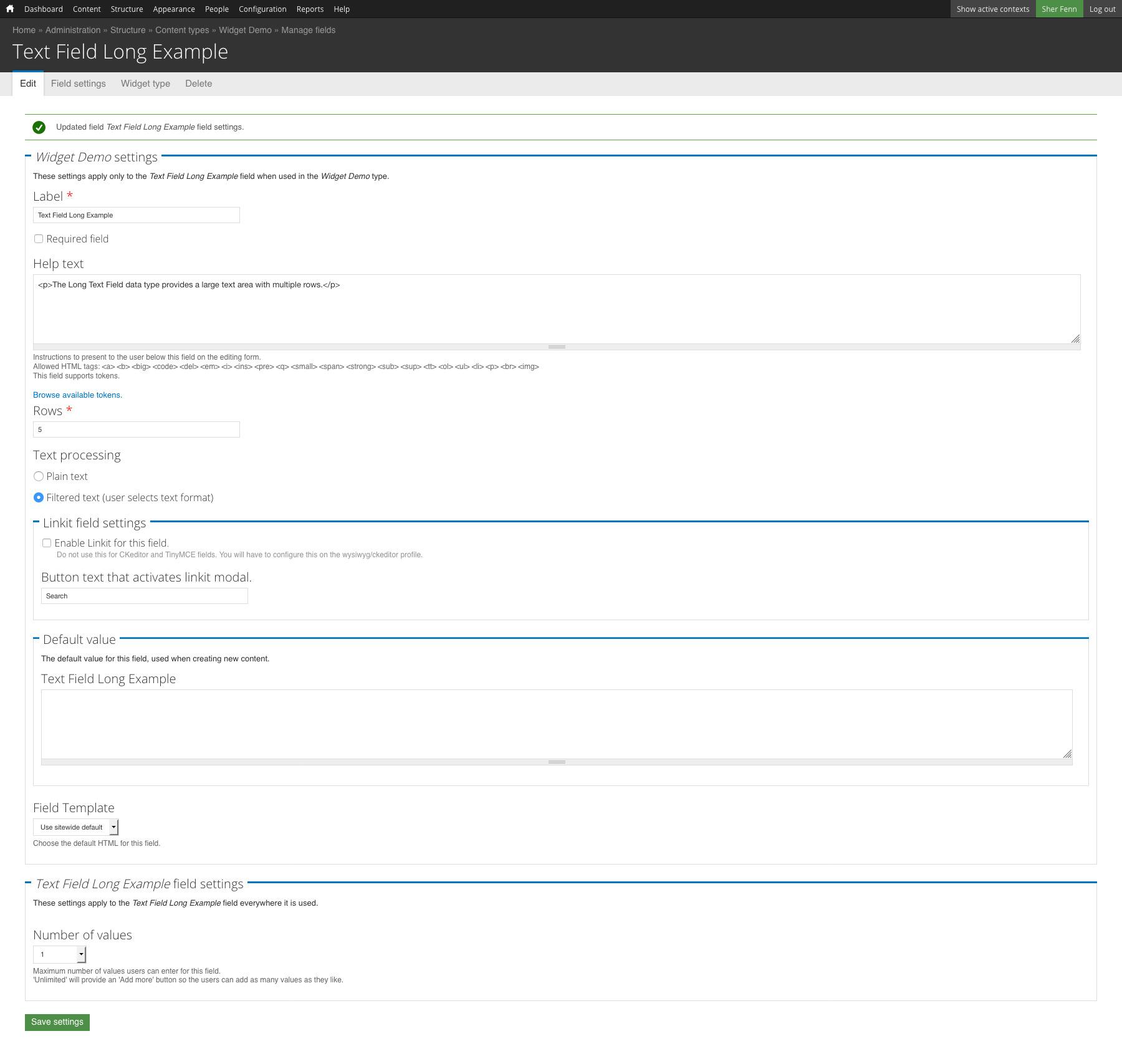Text Field - Long Configuration   OSU Drupal 7   Web