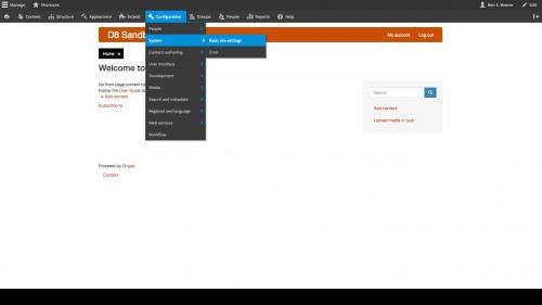 D8 - Configuration - System - Basic Site Settings - Navigation