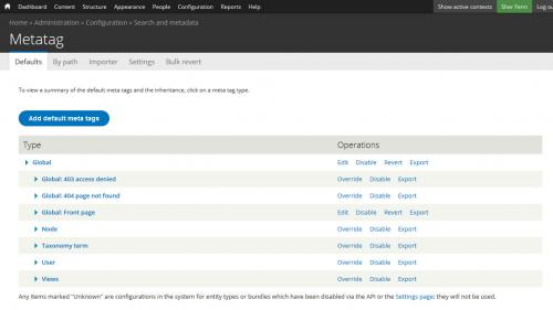 Metatag - Defaults - Add New Default - Click Add Default Metatag