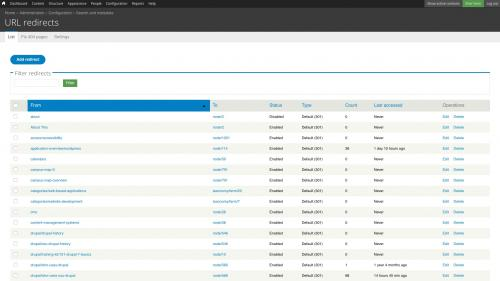 D7 - Working with Config - Search and Metadata - URL Redirects - List Tab - Click Add Redirect Button