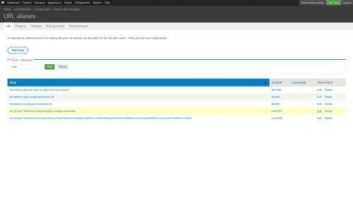 Pathauto - URL Path Pattern Configuration - List - Click Alias Edit LInk