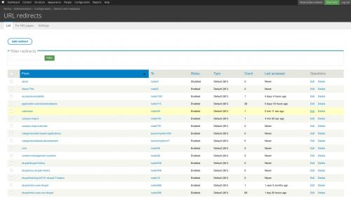 D7 - Working with Config - Search and Metadata - URL Redirects - List Tab - Edit Redirect - Click Edit Link