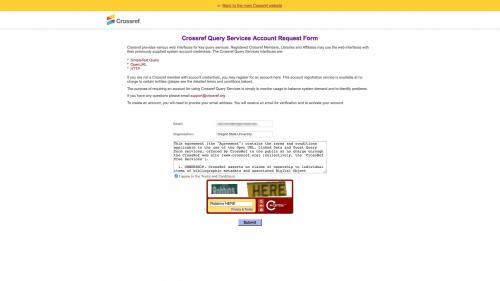 Biblio - Configure - Preferences - Crossref - Request Crossref Query Services Account