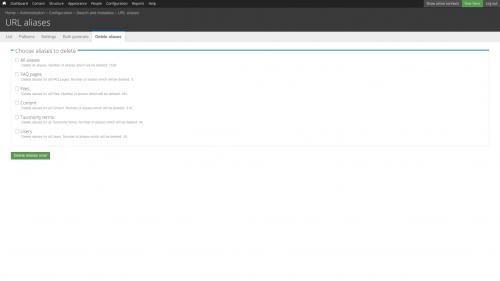 Pathauto - URL Path Pattern Configuration - Delete Aliases Tab