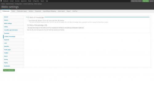 D7 - Working with Config - Biblio - Preferences - ISI Web of Knowledge Tab