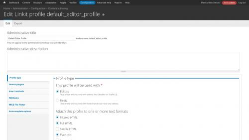 D7 - Working with Config - Linkit Profile Configs - Default Profile Type Settings