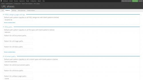 Pathauto - URL Path Pattern Configuration - Patterns Tab Top