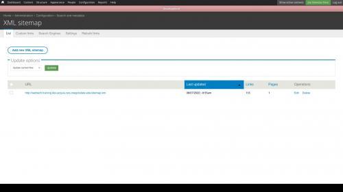 XML Sitemap List tab