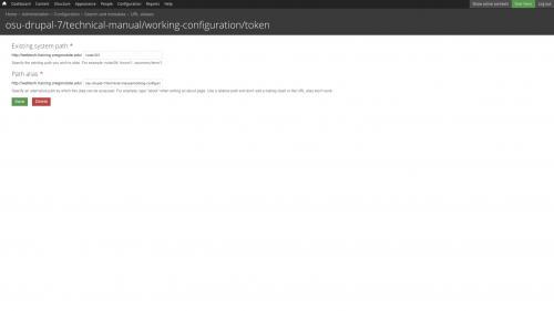 Pathauto - URL Path Pattern Configuration - List - Alias Edit Form