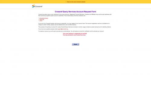 Biblio - Configure - Preferences - Crossref - Account Confirmation