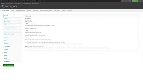 D7 - Working with Config - Biblio - General Settings Tab