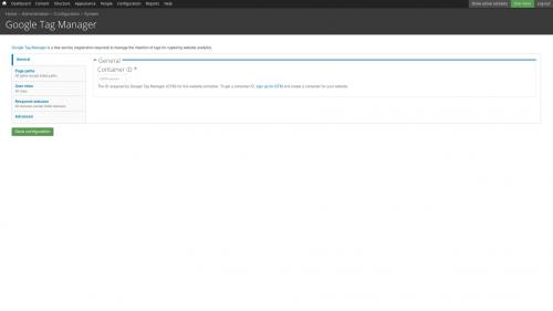 Google Tag Manager - Configure - Google Tag Manager Configuration Screen