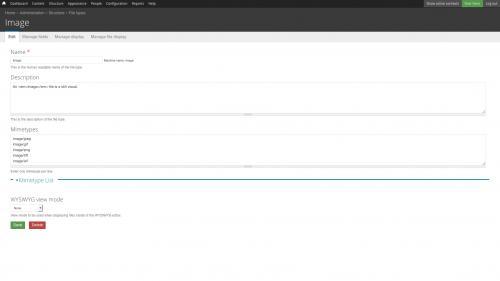 File Types - Image - Image Edit Tab
