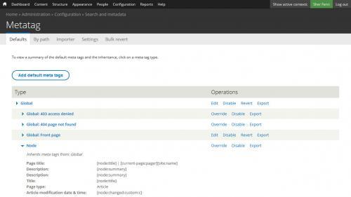 Metatag - Defaults - Form Components - Open Node Settings