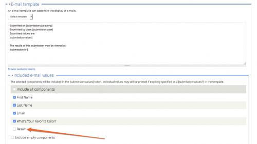 D7 - Webform - Configure Email - Uncheck Value