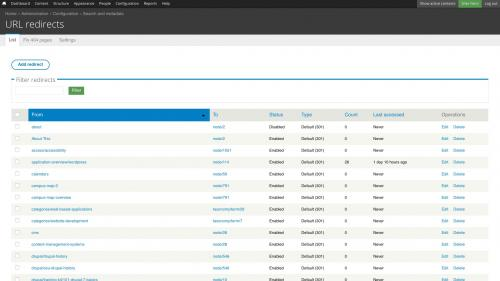D7 - Working with Config - Search and Metadata - URL Redirects - Default List Tab