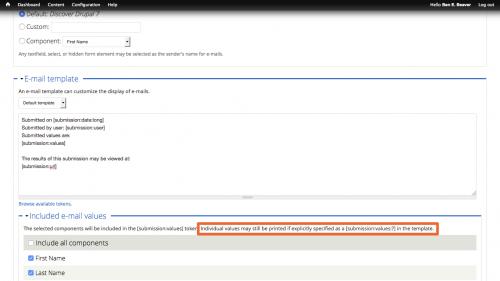 D7 - Webform - Configure Email - Instructional Text