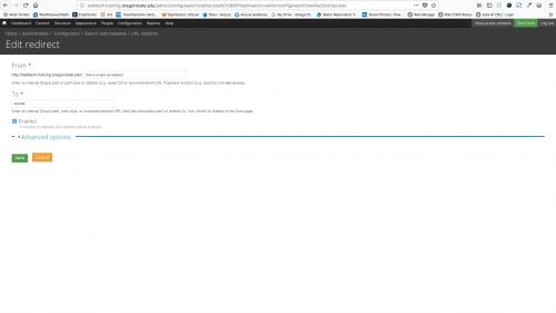 D7 - Working with Config - Search and Metadata - URL Redirects - List Tab - Enter Data in Redirect Form