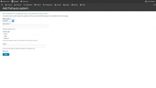 D8 - Configuration - Search and Metadata - URL Aliases - Patterns - Choose Content Pattern