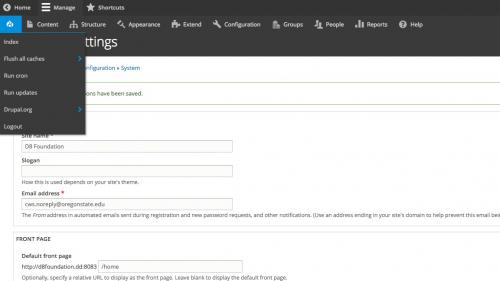 D8 - Configuration - System - Basic Site Settings - Assign Front Page - Click Front Page Button