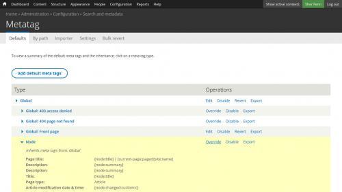 Metatag - Defaults - Form Components - Click Node Override Link
