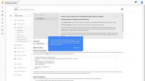 Google Analytics Module - Set Up Account - Copy Tracking ID