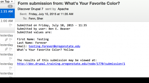 D7 - Webform - Configure Email - Email Sample