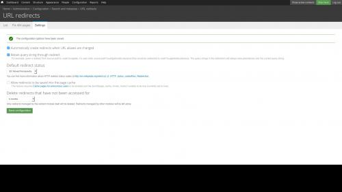 D7 - Working with Config - Search and Metadata - URL Redirects - Settings Tab - Settings Changed System Confirmation