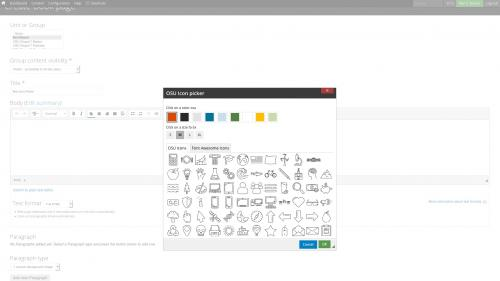 D7 Text Editor - OSU CKEditor Plugins - Icon Picker - Dialog Box with OSU Icons Appears