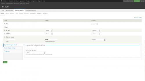 File Types - Image - Image Manage Display Tab