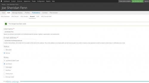 Biblio - Configuration - Preferences - Profile Pages - Click Publications Tab