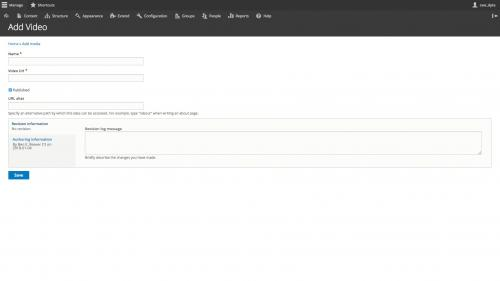 Drupal 8 - Media - Video Media Type - Manage Form Display - Video Submission Form After