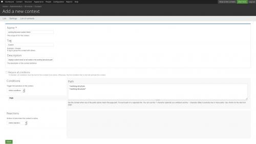 Context Module - Create New Context - Add Path(s)