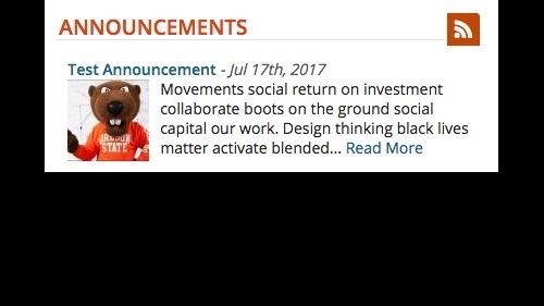 Working with Content - Announcements - Announcement Summary Block