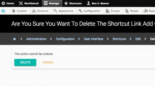 D8 - Working With Structure - Shortcuts - Configuration - Confirm Deletion