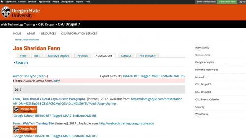 Biblio - Configuration - Preferences - Profile Pages - Publications List