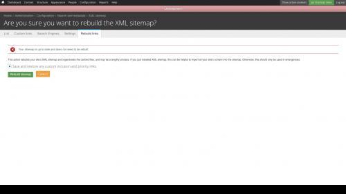 XML Sitemap Rebuild Links Tab