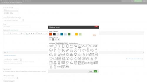 D7 Text Editor - OSU CKEditor Plugins - Icon Picker - Select OSU Icon