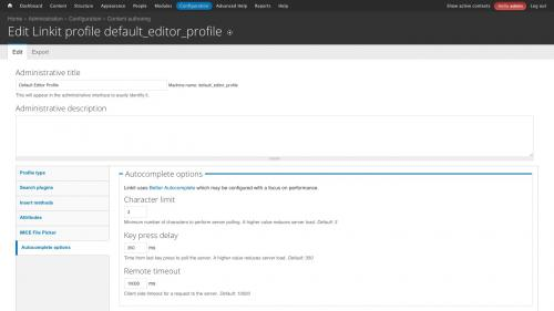 D7 - Working with Config - Linkit Profile Configs - Default Autocomplete Option Settings