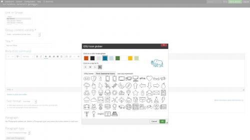 D7 Text Editor - OSU CKEditor Plugins - Icon Picker - Change Size and Color