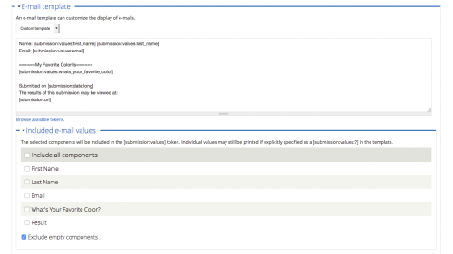 D7 - Working with Content - Webforms - Custom Webform Settings - Edit Email Settings - Customize Template