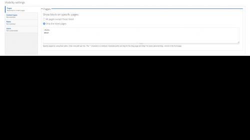 Blocks - Configuration - Page Visibility Configuration Settings