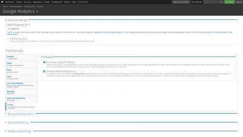 Google Analytics Module - Configure Google Analytics Module - Configure Privacy Settings
