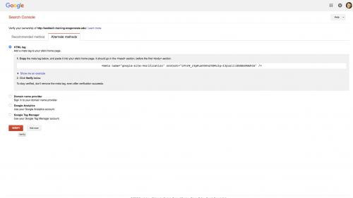 Metatag - Site-Verification - Click Verify Button