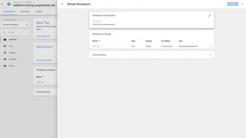 Google Tag Manager - Configure Container - Click to Add Description